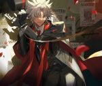 1boy ;d amakusa_shirou_(fate) bangs black_gloves black_legwear black_suit collared_shirt cuffs dark_skin dark_skinned_male fate/grand_order fate_(series) formal gloves handcuffs hat holding holding_clothes holding_hat holding_key itefu key monocle necktie one_eye_closed open_mouth pants parted_bangs red_neckwear shirt silver_hair smile solo spiky_hair spotlight suit top_hat waistcoat wanted white_shirt