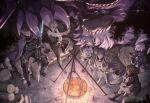 2boys 3girls bowl campfire cape cooking dagger dragon fate/grand_order fate_(series) food fou_(fate) from_above fujimaru_ritsuka_(female) glasses highres ladle log martha_(fate) mash_kyrielight miwa_shirow multiple_boys multiple_girls night rock sieg_(fate) sigurd_(fate) sitting soup stick tarrasque_(fate) weapon