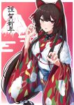1girl animal_ears blue_bow bow brown_eyes claw_pose dog_ears dog_girl dog_hair_ornament fang fur_trim furisode heterochromia highres inui_toko japanese_clothes kimono long_hair looking_at_viewer low-tied_long_hair mount_fuji nichijo nijisanji obi open_hands open_mouth pink_eyes red_kimono red_nails sash skin_fang solo very_long_hair virtual_youtuber wide_sleeves