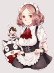>_< :3 alternate_costume apron black_skirt breasts cat corset enmaided envyrayusa flying_sweatdrops framed_breasts hand_up jabot large_breasts looking_at_viewer maid maid_apron maid_headdress morgana_(persona_5) nail_polish niijima_makoto official_alternate_costume okumura_haru persona persona_5 persona_5:_dancing_star_night shirt short_sleeves skirt skirt_lift smile white_shirt wrist_cuffs