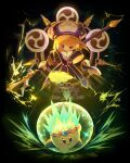 1girl :d bangs black_background black_dress blonde_hair blue_eyes blush_stickers copyright_name dress electricity highres holding holding_spear holding_weapon kirby kirby:_star_allies kirby_(series) kouyafu mitsudomoe_(shape) open_mouth polearm smile spear tomoe_(symbol) violet_eyes weapon zan_partizanne