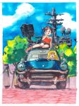 2girls :d absurdres acrylic_paint_(medium) blonde_hair blue_eyes blue_sky boots border brown_footwear brown_hair brown_shorts car commentary day driving english_commentary g-pen_(medium) green_eyes ground_vehicle hand_up highres looking_at_viewer motor_vehicle multiple_girls on_vehicle open_mouth original outdoors red_shirt ryusei_hashida shirt short_shorts shorts sky smile traditional_media v white_border