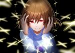 1other black_background blue_sweater brown_hair clenched_teeth crying crying_with_eyes_open english_commentary eyebrows_visible_through_hair eyelashes frisk_(undertale) hands_on_own_head highres long_sleeves red_eyes shiny shiny_hair short_hair solo sweater tears teeth undertale yuupontan.