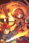 arclumx bangs black_gloves breasts charizard chest_jewel earrings fingerless_gloves fire fire_emblem gen_1_pokemon gloves highres jewelry large_breasts pokemon pyra_(xenoblade) red_eyes red_legwear red_shorts redhead roy_(fire_emblem) short_hair short_shorts shorts super_smash_bros. swept_bangs sword thigh-highs tiara weapon xenoblade_chronicles_(series) xenoblade_chronicles_2