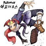 1girl absurdres black_hair eyelashes female_protagonist_(pokemon_legends:_arceus) grey_eyes hat head_scarf highres long_hair mipoog mouth_hold pokemon pokemon_(game) pokemon_legends:_arceus ponytail red_scarf sash scarf scroll sidelocks simple_background solo sweat translation_request white_background