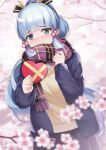 1girl black_jacket blue_eyes blue_hair blurry blurry_background blurry_foreground blush box cherry_blossoms commentary covered_mouth depth_of_field dutch_angle flower fringe_trim genshin_impact gift gift_box heart heart-shaped_pupils high_ponytail highres holding holding_gift jacket kamisato_ayaka_(genshin_impact) long_hair long_sleeves nose_blush open_clothes open_jacket petals pink_flower plaid plaid_scarf pleated_skirt ponytail purple_scarf purple_skirt scarf skirt sleeves_past_wrists solo spring_(season) sweater_vest symbol-shaped_pupils tree_branch very_long_hair yukinoshita_(shaonjishi)