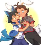 +_+ 2boys antenna_hair ash_ketchum bangs black_pants blue_eyes blue_jacket blush brown_hair cinderace closed_mouth commentary_request fang gen_4_pokemon gen_8_pokemon goh_(pokemon) jacket lucario male_focus motion_blur multiple_boys open_mouth pants pokemon pokemon_(anime) pokemon_ears pokemon_swsh_(anime) pokemon_tail shirt short_sleeves skin_fang sleeveless sleeveless_jacket sparkle sweatdrop t-shirt tail tail_wagging tongue white_shirt wrist_grab ze_(0enmaitake)