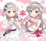 2girls :d bangs bare_shoulders blue_eyes blush braid braided_bangs breasts brown_eyes choker collarbone commentary_request dress eyebrows_visible_through_hair frilled_dress frills grey_hair hair_over_shoulder hair_ribbon hairband hands_up highres hisakawa_hayate hisakawa_nagi holding holding_microphone idolmaster idolmaster_cinderella_girls idolmaster_cinderella_girls_starlight_stage long_hair looking_at_viewer low_twintails medium_breasts microphone mitsumine_raimu multiple_girls open_mouth parted_lips pink_ribbon pink_skirt pleated_dress pleated_skirt ribbon ribbon_trim siblings single_wrist_cuff sisters skirt sleeveless sleeveless_dress smile twins twintails very_long_hair white_choker white_dress white_hairband wrist_cuffs