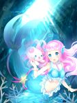 1girl 1other :d air_bubble bangs bare_shoulders blue_eyes blush bracelet breasts bubble commentary coral crop_top full_body hair_ornament head_fins jewelry kinoshita_idea kururun_(precure) laura_(precure) light_rays long_hair looking_at_another medium_breasts mermaid midriff monster_girl navel necklace open_mouth pearl_hair_ornament pearl_necklace pink_hair precure shirt sidelocks sleeveless sleeveless_shirt smile solo_focus split_tail tropical-rouge!_precure underwater white_shirt