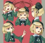 1girl bangs blonde_hair blue_ribbon blunt_bangs closed_eyes commentary_request copyright_name dress eyebrows_behind_hair fate_(series) green_dress green_eyes green_headwear hat hat_ribbon highres long_sleeves lord_el-melloi_ii_case_files multiple_views open_mouth pom_pom_(clothes) red_background reines_el-melloi_archisorte ribbon short_hair smile solo tilted_headwear two-tone_background white_background yomoyama_yotabanashi younger