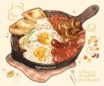 bacon beans bread bread_slice cup egg english_text food food_focus fork frying_pan garnish highres knife meat mushroom nao_(bestrollever) no_humans original rabbit realistic sausage simple_background still_life sunny_side_up_egg tomato tomato_slice vegetable