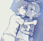 2boys antenna_hair ash_ketchum bangs blurry blush chromatic_aberration commentary_request eye_contact eyelashes face-to-face goh_(pokemon) hair_ornament hand_on_another's_shoulder looking_at_another male_focus multiple_boys parted_lips pokemon pokemon_(anime) pokemon_swsh_(anime) shirt short_hair short_sleeves signature sleeves_past_elbows sweatdrop t-shirt ze_(0enmaitake)