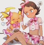 1boy artist_name bangs blue_eyes blush bow brown_hair buttons closed_mouth clothed_pokemon commentary_request cosplay crossdressing dark_skin dark_skinned_male gen_1_pokemon goh_(pokemon) hair_bow hand_up knees_together leg_ribbon male_focus may_(pokemon) may_(pokemon)_(cosplay) miniskirt musical_note navel pink_bow pokemon pokemon_(anime) pokemon_(creature) pokemon_(game) pokemon_oras pokemon_swsh_(anime) raichu ribbon sitting skirt spoken_musical_note spoken_squiggle squiggle sweatdrop watermark wrist_cuffs ze_(0enmaitake)
