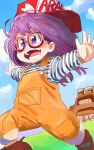 1girl :d absurdres baseball_cap blue_sky boots brown_footwear day dr._slump glasses halftone hat highres norimaki_arale open_mouth outdoors outstretched_arms purple-framed_eyewear purple_hair red_headwear running ryusei_hashida shirt sky smile solo spread_arms striped striped_shirt violet_eyes yellow_overalls