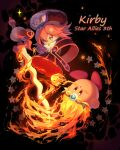 1girl :o bangs black_background black_dress black_headwear blush_stickers copyright_name dress flamberge_(kirby) flaming_sword flaming_weapon hair_between_eyes hat highres holding holding_sword holding_weapon kirby kirby:_star_allies kirby_(series) kouyafu long_sleeves parted_bangs redhead sparkle star_(symbol) sword violet_eyes weapon wide_sleeves