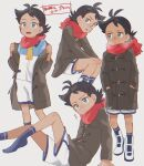 1boy antenna_hair bangs black_hair black_legwear blue_eyes blush breath closed_mouth coat commentary_request goh_(pokemon) hair_ornament hands_in_pockets hands_on_own_knees legs_together male_focus multiple_views open_clothes open_coat open_mouth pokemon pokemon_(anime) pokemon_swsh_(anime) red_scarf scarf shirt shorts sideways_glance socks standing tongue translation_request white_shorts ze_(0enmaitake)