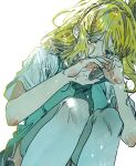 1girl blonde_hair braid crown_braid crying crying_with_eyes_open curly_hair green_eyes green_neckwear grey_skirt hair_rings highres love_live! love_live!_sunshine!! neckerchief ohara_mari sanya_(artist) school_uniform short_sleeves skirt solo streaming_tears tears thigh-highs tie_clip white_background zettai_ryouiki