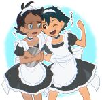 2boys apron ash_ketchum bangs black_hair blue_eyes brown_eyes clenched_hand commentary_request crossdressing dark_skin dark_skinned_male dress eye_contact eyelashes goh_(pokemon) hair_ornament holding holding_tray knees looking_at_another maid_headdress male_focus multiple_boys open_mouth outline pokemon pokemon_(anime) pokemon_swsh_(anime) short_sleeves smile sweatdrop teeth tongue translation_request tray ze_(0enmaitake)