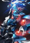 black_background clenched_hand electricity gamiani_zero glowing glowing_eyes highres looking_down mecha no_humans open_hand punching red_eyes science_fiction solo soulgain super_robot super_robot_wars super_robot_wars_original_generation