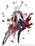 1girl absurdres coat crossdressing epaulettes flower formal fringe_trim full_body grey_eyes highres holding holding_spear holding_weapon jacket_over_shoulder ji_no looking_at_viewer necktie official_art pants petals polearm reverse_trap rose short_hair silver_hair silver_trim sinoalice snow_white_(sinoalice) solo spear square_enix suit torn_clothes very_short_hair vest_over_shirt weapon white_background