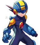 1boy arm_cannon artist_name blue_bodysuit blue_headwear blurry bodysuit brown_hair closed_mouth commentary_request covered_collarbone dated depth_of_field green_eyes helmet highres light_smile looking_at_viewer male_focus netnavi rockman rockman_exe rockman_exe_(character) short_hair simple_background solo standing twitter_username weapon white_background zero-go