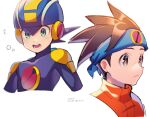 2boys artist_name blue_headband blue_headwear blush bodysuit brown_eyes brown_hair closed_mouth commentary_request cropped_torso dated green_eyes headband helmet hikari_netto looking_at_viewer looking_to_the_side male_focus multiple_boys netnavi open_mouth orange_vest purple_bodysuit rockman rockman_exe rockman_exe_(character) short_hair simple_background spiky_hair teeth turtleneck twitter_username upper_body vest white_background zero-go
