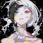 1girl absurdres biting black_background black_hair blunt_ends brown_eyes chromatic_aberration highres lip_biting looking_at_viewer original paint paint_on_face portrait shadow solo white_hair yoneyama_mai