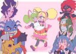 3boys 5girls :3 animal_ears antennae apron asdge23 bakenyan_(precure) bakenyan_(precure)_(cosplay) bald_spot bare_shoulders bindi black_dress black_eyes black_gloves black_legwear blonde_hair blood blue_eyes blue_gloves blue_hair blue_lips blue_skin blush blush_stickers bodysuit border bow bowtie braid bubble_skirt butler butler_(precure) camera cape carrying cat_ears cat_girl chongire closed_eyes colored_sclera colored_skin commentary_request constricted_pupils cosplay covering_mouth crab crossdressing cyclops diamond_(symbol) doctor dress elbow_gloves excited eyeshadow eyewon_(precure) facepaint fang fangs female_pervert formal frilled_apron frills full-face_blush fur_choker glasses gloves green_eyes green_hair hairband half-closed_eyes hand_on_own_cheek hand_on_own_face holding holding_camera horns kappard_(precure) labcoat lipstick long_hair looking_at_another looking_to_the_side low-tied_long_hair low_twintails maid maid_apron maid_headdress makeup mask monster_boy monster_girl multicolored_hair multiple_boys multiple_girls no_antennae no_nose no_sclera nosebleed numeri_(precure) one-eyed open_mouth orange-tinted_eyewear outside_border pantyhose pervert pink_background pink_footwear pink_hair pink_hairband pink_skin pointy_ears polka_dot polka_dot_background prawn precure princess_carry purple_cape purple_lips purple_skin red_eyes red_scarf red_skin redhead reverse_trap rimless_eyewear scarf seahorse shoes shoulder_pads single-lens_reflex_camera single_horn skirt slit_pupils slug_girl star_twinkle_precure streaked_hair sunglasses sweatdrop tengu_mask tropical-rouge!_precure twin_braids twintails violet_eyes walking wavy_hair white_apron white_border white_headwear white_neckwear yellow_sclera yuni_(precure)