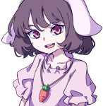 1girl :d absurdres bangs black_hair carrot_necklace dress eyebrows_behind_hair floppy_ears highres inaba_tewi kame_(kamepan44231) looking_at_viewer one-hour_drawing_challenge open_mouth pink_dress red_eyes short_hair short_sleeves simple_background smile solo touhou upper_body white_background
