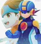 2boys :d artist_name battle_chip blue_bodysuit blue_headband blue_headwear bodysuit brown_eyes brown_hair clenched_hand closed_mouth commentary_request dated green_eyes grey_background halftone headband helmet highres hikari_netto holding looking_to_the_side male_focus multiple_boys netnavi open_mouth orange_vest rockman rockman_exe rockman_exe_(character) short_hair smile turtleneck twitter_username upper_body upper_teeth vest zero-go
