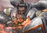 1boy apex_legends armor axe backpack bag black_eyes black_hair character_name copyright_name dark_skin dark_skinned_male gibraltar_(apex_legends) gloves glowing glowing_weapon grey_gloves hair_behind_ear hair_bun holding holding_axe holding_shield male_focus open_mouth science_fiction shield solo weapon yoshimoto_(dear_life)