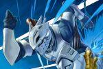 1boy armor blue_background boku_no_hero_academia commentary_request helmet highres iida_tenya male_focus running solo two-tone_background vambraces visible_air white_background yomoyama_yotabanashi