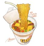 artist_name commentary_request cup_noodle food food_focus fork highres momiji_mao nissin no_humans noodles numbered product_placement ramen ramen realistic signature simple_background soup still_life white_background