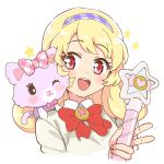 1girl :d blonde_hair blush bow bowtie cardigan cropped_torso eyebrows_visible_through_hair hair_ornament hairband heart heart_hair_ornament hinata_yume holding holding_wand ichigo_junior_high_uniform long_hair looking_at_another mew_(mewkledreamy) mewkledreamy one_eye_closed open_mouth red_eyes round_teeth school_uniform shiny shiny_skin simple_background smile star_(symbol) star_in_eye stuffed_animal stuffed_cat stuffed_toy symbol_in_eye teeth upper_body upper_teeth wand white_background yoban