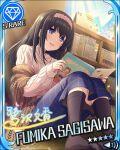 black_hair blue_eyes blush character_name dress idolmaster idolmaster_cinderella_girls long_hair sagisawa_fumika smile stars