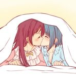 2girls bed blue_hair closed_eyes long_hair lying mahou_shoujo_madoka_magica miki_sayaka multiple_girls oonishi pajamas ponytail redhead sakura_kyouko short_hair yuri