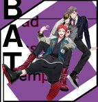 3boys absurdres aimono_juushi amaguni_hitoya bad_ass_temple belt black_nails boots brown_hair hair_over_one_eye harai_kuuko highres hypnosis_mic jacket jewelry letterman_jacket long_hair male_focus multicolored_hair multiple_boys necktie pokosuka pompadour red_footwear red_neckwear redhead ring shoes sneakers two-tone_jacket