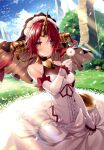 1girl absurdres bangs bare_shoulders blue_eyes blue_sky blush breasts brown_eyes closed_mouth clouds cloudy_sky dress elbow_gloves fate/grand_order fate_(series) flower frankenstein's_monster_(fate) frills gloves grass heterochromia highres holding horns huge_filesize long_hair looking_at_viewer medium_breasts necomi petals redhead scan shiny shiny_hair short_hair simple_background single_horn sky sleeveless solo sunlight veil