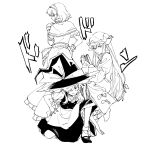 3girls alice_margatroid apron battle_tendency black_footwear black_headwear black_skirt black_vest book bow braid capelet commentary_request dress frilled_hairband frills frown greyscale hair_bow hairband hand_on_hip hat hat_over_one_eye hat_ribbon highres holding holding_book jojo_no_kimyou_na_bouken jojo_pose kirisame_marisa long_hair long_sleeves looking_at_viewer looking_back mob_cap monochrome multiple_girls natsume_(menthol) one_knee patchouli_knowledge pose ribbon shirt shoes short_sleeves simple_background single_braid skirt smile socks sound_effects touhou vest waist_apron white_background white_legwear white_shirt witch_hat wrist_cuffs