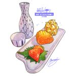alcohol artist_name bottle choko_(cup) commentary_request cup diffraction_spikes food food_focus food_request garnish highres momiji_mao no_humans numbered omelet original realistic roe sake sake_bottle signature simple_background still_life tamagoyaki tokkuri translated white_background