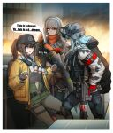 3girls absurdres acog assault_rifle bandolier cheogtanbyeong cleaners combat_knife commentary deele_(girls_frontline) dima_(girls_frontline) duct_tape english_text explosive gas_mask genderswap genderswap_(mtf) girls_frontline gloves goggles goggles_on_headwear grenade gun h&k_hk416 helmet highres hk416_(fang)_(girls_frontline) hk416_(girls_frontline) knife last_man_battalion mask_around_neck multiple_girls pointing rifle rogue_division_agent scope speech_bubble tactical_clothes thigh-highs tom_clancy's_the_division trigger_discipline vector_(girls_frontline) vector_(hellfire)_(girls_frontline) weapon winter_uniform