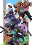 4girls arm_strap black_hair blue_hair bodysuit breasts brown_eyes dark_skin dark_skinned_female english_commentary explosive floating_hair green_eyes green_hair grenade gun hair_behind_ear hairlocs handgun holding holding_gun holding_weapon jett_(valorant) looking_at_viewer making-of_available mask md5_mismatch medium_breasts mouth_mask multiple_girls obi open_hand orb pistol ponytail raze_(valorant) sage_(valorant) sash short_hair smile submachine_gun tied_hair valorant viper_(valorant) vmat weapon white_hair
