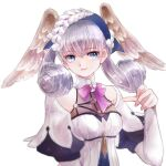 1girl blue_eyes blush braid breasts crown_braid curly_hair gloves head_wings highres juliet_sleeves long_hair long_sleeves looking_at_viewer magic medium_breasts melia_antiqua o-ring puffy_sleeves silver_hair simple_background smile solo staff upper_body user_scec4774 xenoblade_chronicles xenoblade_chronicles:_future_connected xenoblade_chronicles_(series)