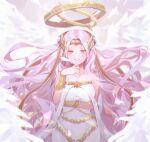1girl angel angel_wings archangel_gabriel_(guardian_tales) colored_skin feathered_wings guardian_tales hair_ornament halo long_hair looking_at_viewer miya_(zawarudo) pink_hair ruby_(gemstone) smile solo white_skin wings