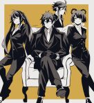 2boys 2girls :p ahoge armchair artist_name bangs braid breasts chair closed_mouth collared_jacket collared_shirt crossed_legs earrings flower-shaped_pupils formal from_side genshin_impact greyscale hair_ornament hair_rings hairclip hands_together highres hu_tao jacket jewelry long_pants long_sleeves looking_at_viewer monochrome multiple_boys multiple_girls necktie one_eye_closed pants partially_colored red_eyes shirt shoes short_hair short_hair_with_long_locks sidelocks simple_background single_earring sitting smile suit sushisalmon95 tassel tassel_earrings tongue tongue_out twintails watch watch xiangling_(genshin_impact) xiao_(genshin_impact) yellow_background yellow_eyes zhongli_(genshin_impact)