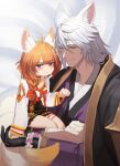 absurdres animal_ears blue_eyes blush collar colored_skin eight-tailed_fox_nari flower fox_boy fox_ears fox_girl fox_tail gloves guardian_tales highres jiki_(gkdlfnzo1245) multiple_tails multiple_views nine_tailed_fox_graham orange_hair red_ribbon ribbon silver_hair smile tail white_skin yellow_eyes