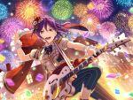 bang_dream! blush dress guitar ponytail purple_hair red_eyes seta_kaoru short_hair smile