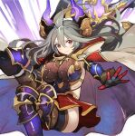 1girl ahoge armor armpits axe black_legwear blush breastplate breasts cloak draph granblue_fantasy greaves grey_hair hair_between_eyes horns large_breasts long_hair looking_at_viewer pupps red_eyes red_skirt skirt smile solo thalatha_(granblue_fantasy) thigh-highs thighs very_long_hair weapon white_cloak