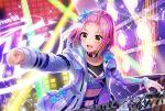 blush d4dj inuyose_shinobu jacket pink_hair short_hair smile yellow_eyes