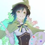 1boy absurdres androgynous bangs black_hair blue_hair blush bow braid brooch cape collared_cape collared_shirt corset eyebrows_visible_through_hair flower frilled_sleeves frills gem genshin_impact gradient_hair green_eyes green_headwear grin hat hat_flower highres holding holding_paintbrush jewelry leaf long_sleeves male_focus multicolored_hair open_mouth paintbrush palette shirt short_hair_with_long_locks smile solo teeth twin_braids venti_(genshin_impact) white_background white_flower white_shirt yasuzume